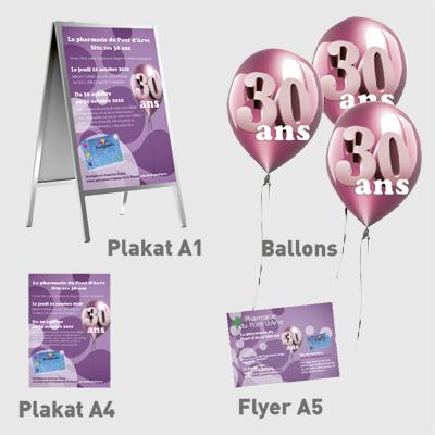 Affiche, ballons et flyer