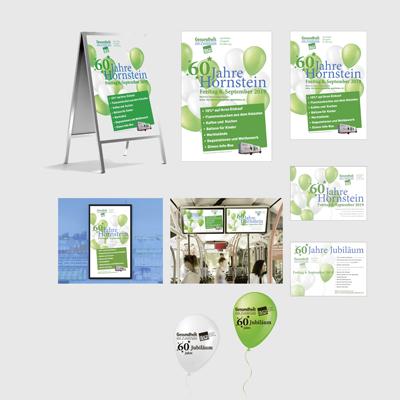 Strassensteller, Plakate, Flyer, Luftballons und Fensteraufkleber